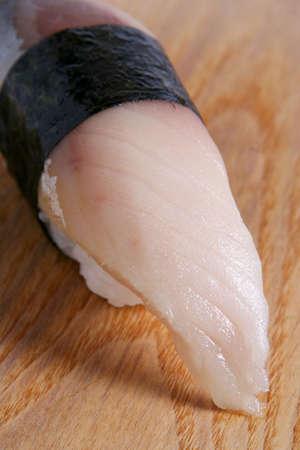 Japanese food sushi mackerel fish detail view photo