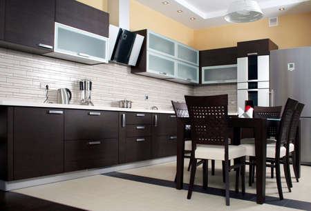 Moderne keuken itnerior shot met studio licht Stockfoto - 1648664
