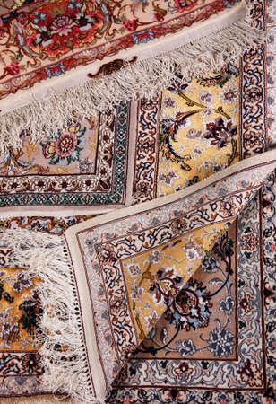 Specifieke weergave van kleuren bit map patroon tapijt oppervlakte details Stockfoto