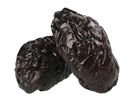 sugary: Dry plum fruit isolated on white background Stock Photo