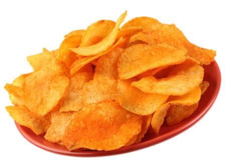 Potato chips zout geïsoleerd op witte achtergrond Stockfoto