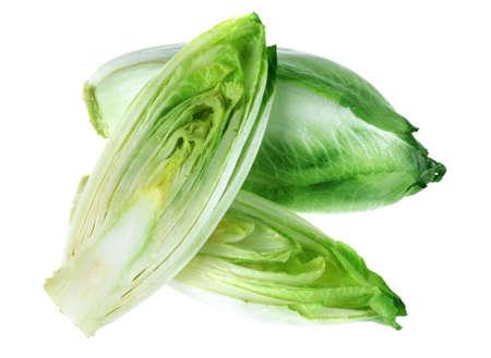 白い背景で隔離チコリ緑色野菜