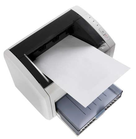 Officee apparatuur grijs laserprinter op wit Stockfoto - 4371672