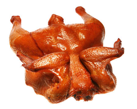 whole chicken: Chicken poultry brown smoked on white background