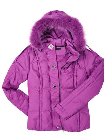 白の毛皮を持つ女性ピンク ・ コート 写真素材