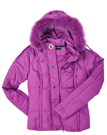 Woman roze jas met bont op wit Stockfoto