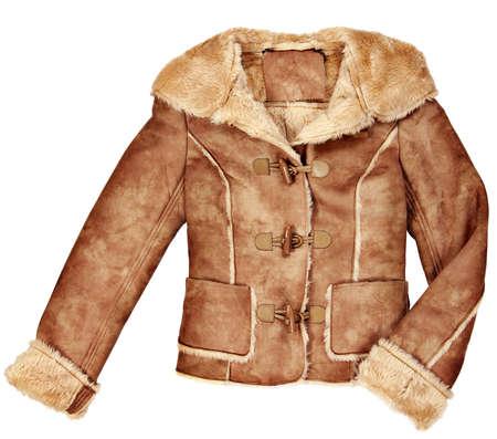 Vrouw kleren jas geïsoleerd op witte achtergrond Stockfoto