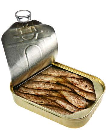 スプラット魚缶詰白い背景の上の isoletad 写真素材