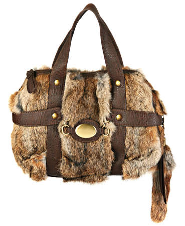 furskin: Woman fur bag on white background