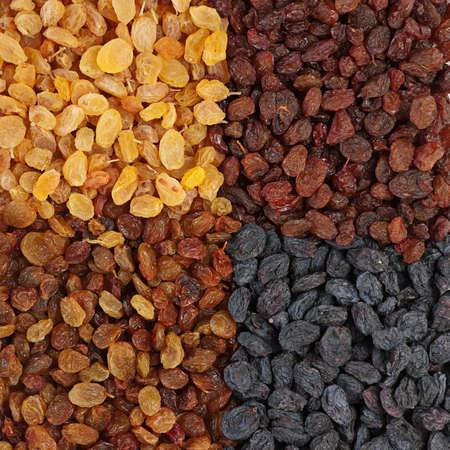 Four sort dried fruit raisin closeup background photo