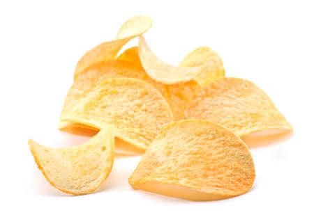 prepared potato: Prepared potato chips snack closeup view