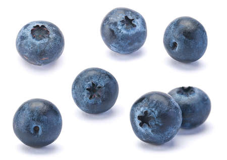 Sweet Blueberry berry closeup isolated on white background Imagens