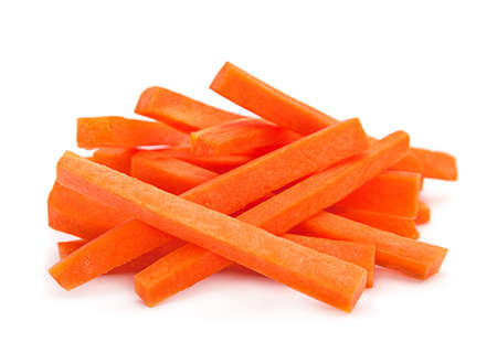 Carrot vegetable stick heap isolated on white background;