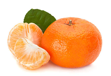 Open tangerine fruit isolated on white background Banco de Imagens
