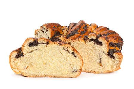 Sweet roll with poppy seed isolated on white