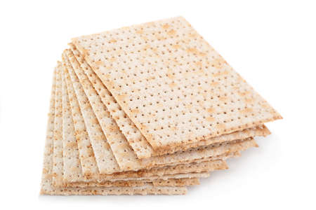 Matzo traditional jewish bread isolated on white Stock Photo