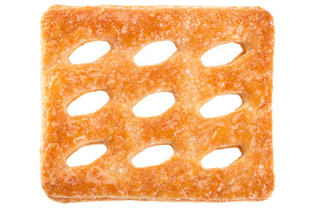Square perforated cookie isolated on white background