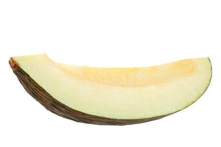 Spanish melon Piel de sapo slice on white