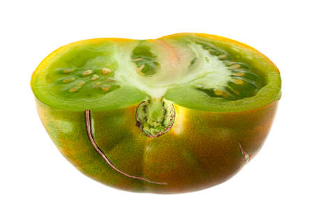 Green ripe tomatoes Magic Glow isolated on white