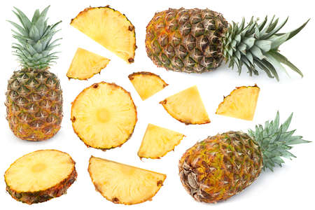Ripe Pineapple tropical fruit closeup set isolated on white
