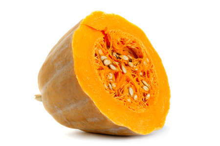 Pumpkin vegetable closeup isolated on white