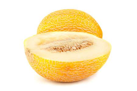 Melon sweet fruit closeup isolated on white