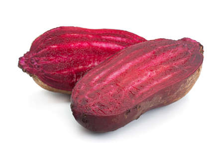 Long beet root closeup isolated on white Stockfoto