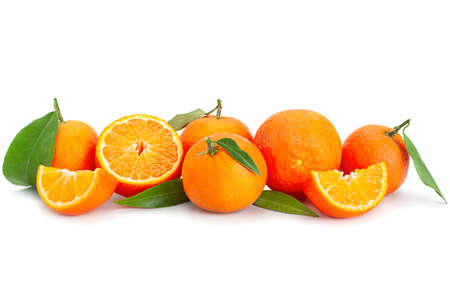 Clementine citrus fruit closeup isolated on white Stock Photo