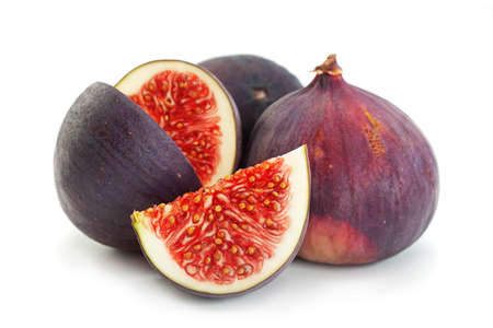 Purple fig fruit closeup isolated on white background Banco de Imagens