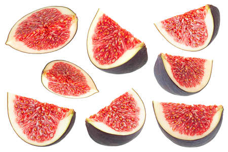 Purple fig fruit slice set isolated on white background