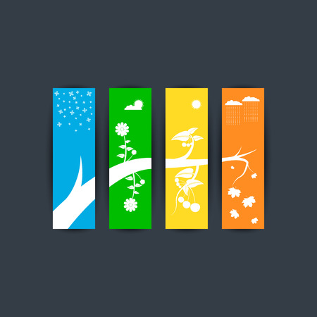 Illustration of the seasons: Winter, Spring, Summer, Autumn. It is executed in the form of four separate signboards with a common form. Illustration
