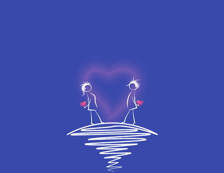 Meeting lovers. Images for design. Vector illustration