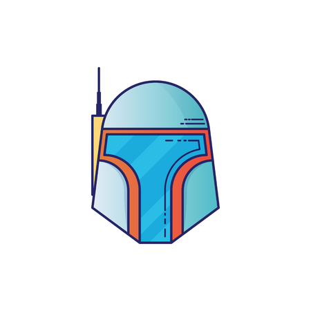 Space helmet icon in thin outline style. Vector illustrations