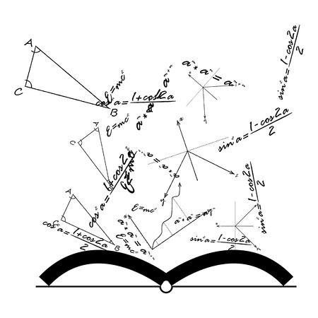 Open Knowledge Book with mathematical and physical formulas, vector.