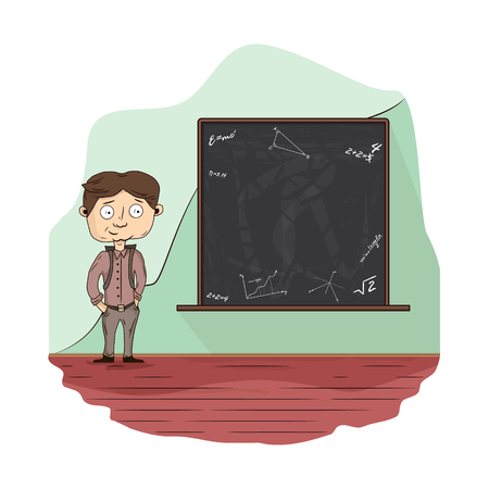 A pupil in the classroom near the blackboard