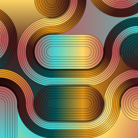 An abstract illustration that combines the geometry and artistry. A complex design that consists of simple shapes, colors and gradients.