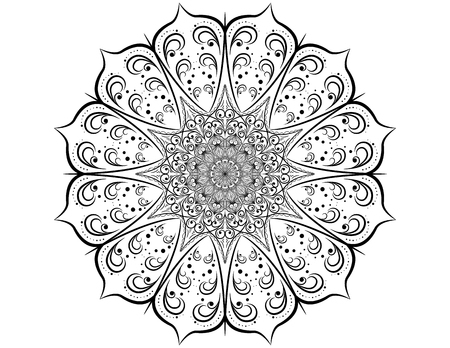 Decorative pattern mandala. Oriental round symmetrical ornament.