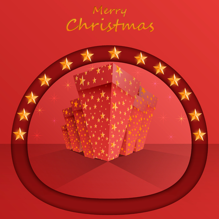 Christmas banners with presents and star. Vector.