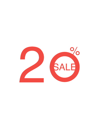 20 OFF Discount Sticker. Sale Red Tag Isolated Vector Illustration. Discount Offer Price Label, Vector Price Discount Symbol. Illustration