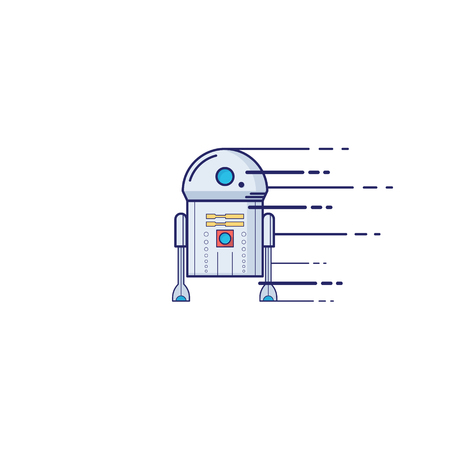 Toy robot icon in thin outline style vector illustration.