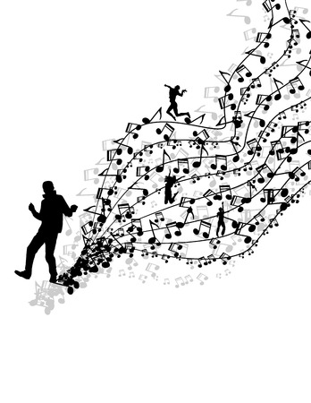Easy to edit vector illustration of wavy musical notes with dancer