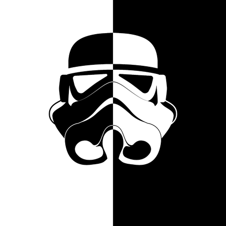 Het logo van de ruimtehelm. Zwart witte stilistiek Vector illustratie. Stockfoto - 94057893