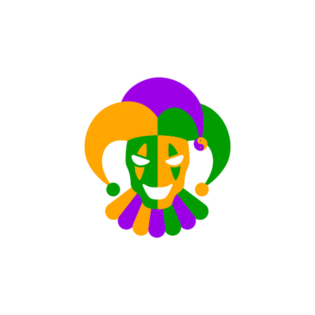 Funny Clown Mask for Mardi Gras. Illustration
