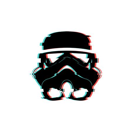 The logo of the space helmet. Glitch stylistics Vector illustration.  イラスト・ベクター素材