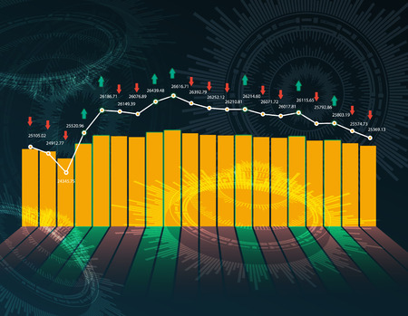 Stock market or forex trading graph and candlestick chart suitable for financial investment concept. Ilustracja