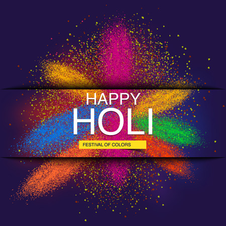 Happy Holi spring festival of colors greeting vector background with realistic volumetric colorful Holi powder paint clouds and sample text.