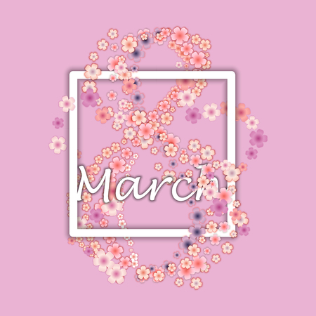 International Womens Day in floral design. The Holiday of All Women on March 8 Иллюстрация
