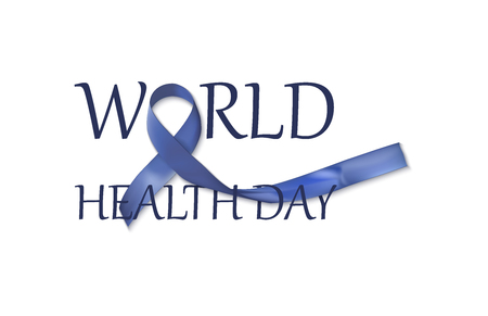 World Health Day dark blue ribbon with the inscription World Health Day for design