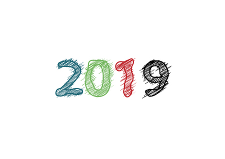 Vector modern minimalistic Happy new year card for 2019 with main big numbers - light version Çizim