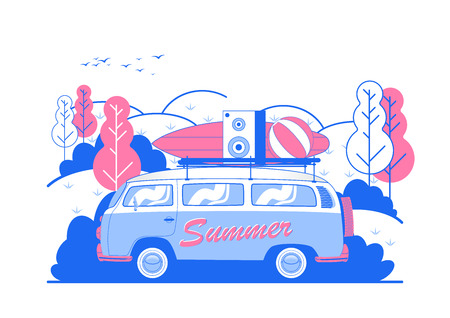 Vector Summer Beach Party Flyer Design with travel van and surf board. Illustration